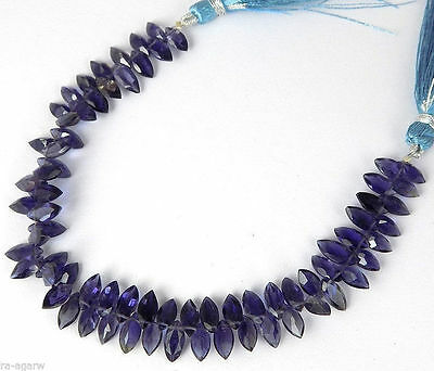"1 Strand Natural Iolite Marquise Shape 4x8mm Normal Cut 7"" Long Briolette Beads"