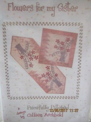 FLOWERS FOR MY SISTER TABLERUNNER WALL HANGING PATTERN  Patchwork/quilt/applique
