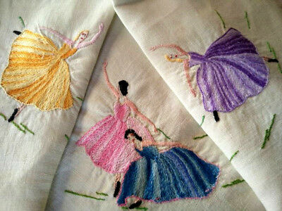 Charming & Sweet Ballerina's/Ballet Dancers ~ Hand embroidered Tablecloth