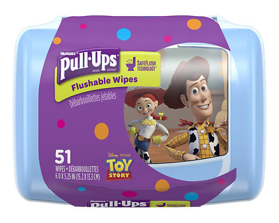 Pull Ups Flushable Moist Wipes Tub, 51-Count