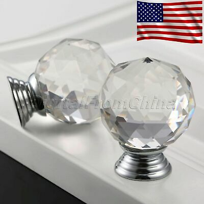 40mm Round Clear Knobs Crystal Glass Pull Cabinet Cupboard Door Handle US Stock