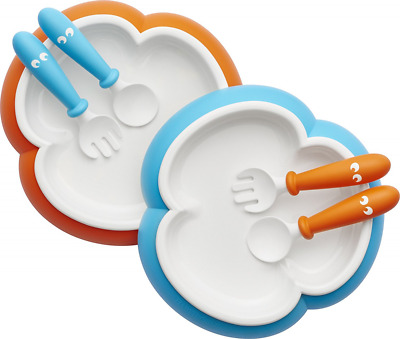 BabyBjorn Baby Plate, Spoon and Fork-Orange/Turquoise, 2 Pack