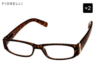 2 x Fiorelli Women's Catwalk Anita Reading Glasses - Gold Animal