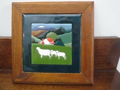 Framed Tile H & R Johnson Stylised Block Colours Sheep & Countryside