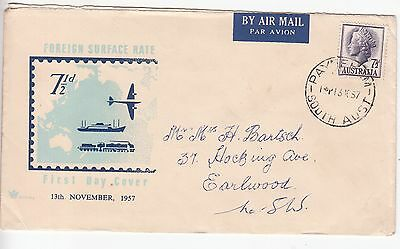 Australia: 7½d Foreign Service Rate FDC; Payneham SA-Earlwood NSW, 13 Oct 1957