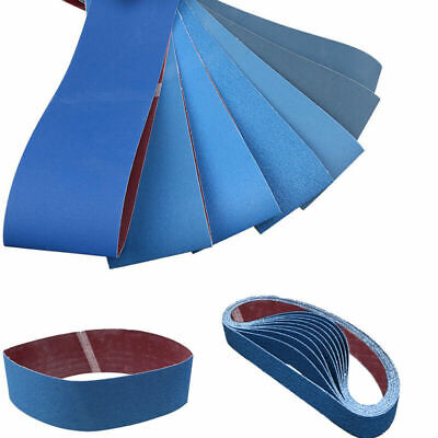"UK 3/5pcs 4"" x 36"" Sanding Belts Strong Metal Grinding 80 - 1000 Grit Power Blue"