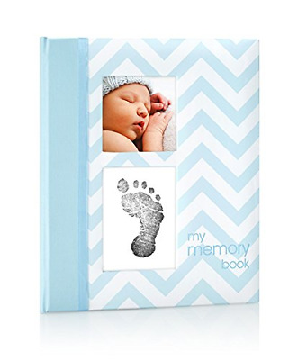Pearhead Chevron Baby Book with Clean-Touch Ink Pad, Blue