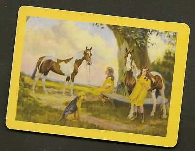 Single Swap Playing Card Children With Coloured Paint Skewbald Horses  Art