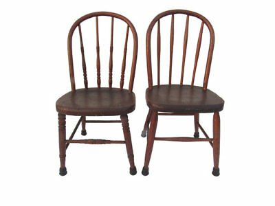 Pair Antique Children's Windsor Chairs Vintage 1940's Kid's Chairs
