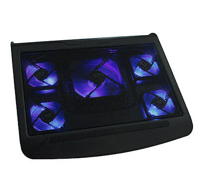 "17"" Laptop USB Blue LED 5 Fan Notebook Cooling Cooler Adjustable Stand Pad Black"