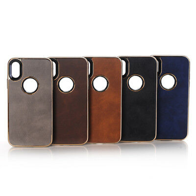 10pcs/lot Plating Edge Crazy Horse Cover Soft PU Leather Back Case for iPhone X