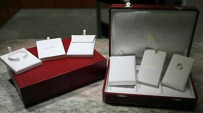 Cartier vintage red leather watch and jewelry display box COJE001 new rare logo