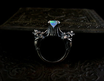 Goth bat sterling silver promise engagement ring omnia studios