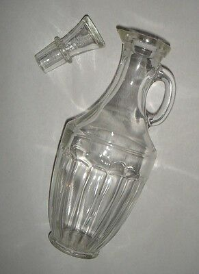 Vintage Vinegar Oil Cruet  Clear Glass Jug with Stopper - Table Kitchenware