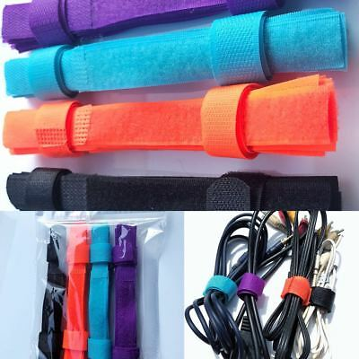 Pack of 40 Cable Cord Tie Strap Reusable Hook and Loop Tape 180mmx 20mm Colorful