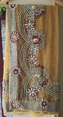 Net golden saree and blouse size 8