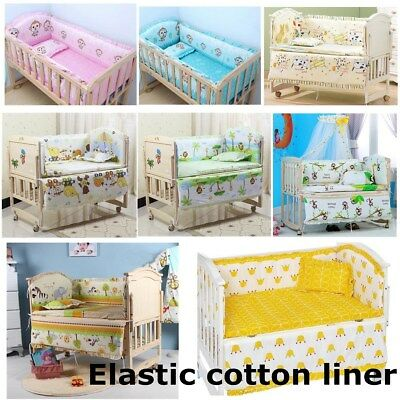5PCS Monkey Baby Nursery Bedding Set Fit Cot 120x60cm Cotton Padded Bumper