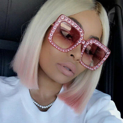 Fashion Women Sunglasses Italy Brand Designer Glasses Big Frame Crystal Square