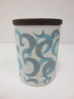 GRESLEY Vintage canister/storage jar with  wooden lid grey blue swirl pattern* *