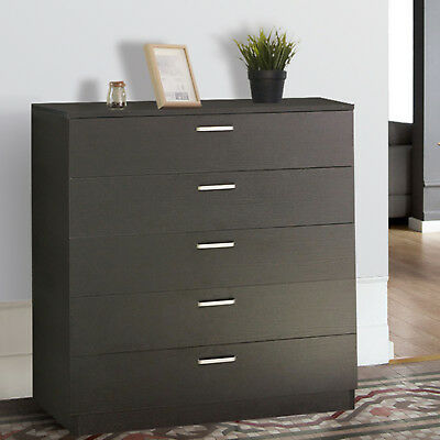 Riano 5 Drawers Chest Black Storage Metal Handles Runners Bedroom Furniture