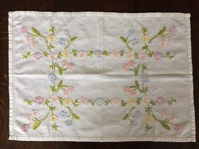 Beautiful Vintage Floral Embroidered Rectangular Tray Cloth