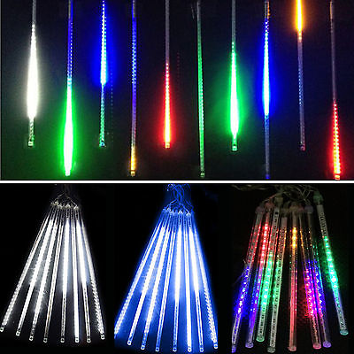 Meteor Shower Falling Star Rain Drop Icicle Snow Fall LED Fr XMAS String Lights