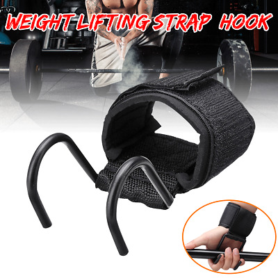 Power Weight Lifting Glove Hook Training Gym Grips Straps Wrist Support Lift