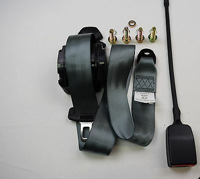 GREY, Universal 3 Point Inertia Seat Belt E9 Rated.XL WIRE BUCKLE VAT Inc ECER16