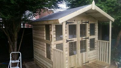 "8X6 +2Ft Porch 19Mm Tanalised Loglap Summerhouse ,3X2Cls Framing ,1"" Thick Floor"