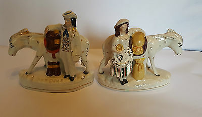 Pair of Authentic Staffordshire Mule Figurines 19th century 'Sand and Beesums'