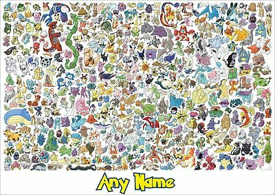 Personalised pokemon character poster - any name - wall art
