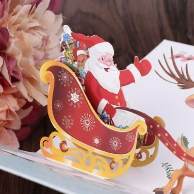 3D Pop Up Merry Christmas Greeting Holiday Cards Xmas New Year Gift