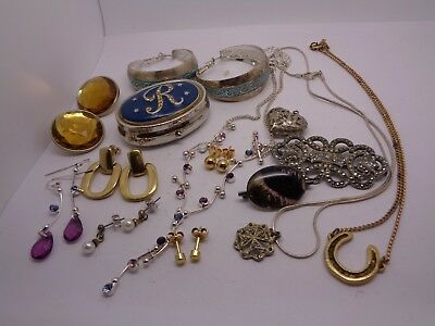 Mixed Job Lot Costume Jewellery Craft, Beads Repair, Earrings Necklace Pill Pot