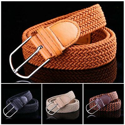 One Size Men's Stretch Braided Elastic Woven Canvas Buckle Belt Waistband Straps