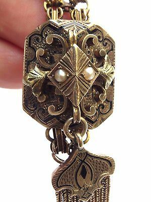 Antique Estate Victorian Solid Yellow Gold Watch Slide Fob Pendant w/ HUGE SLIDE