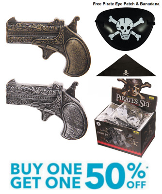 Toy Pirate Gun Two Pack Fancy Dress Costume Accessory Captain Jack Pistol Musket