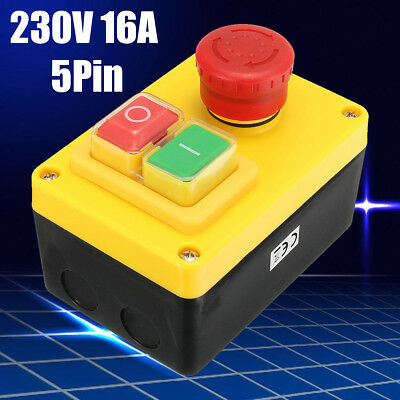 AU 230V Motor Stop/Start NVR Emergency Button Switch for Lathe Mill Drill ON/OFF