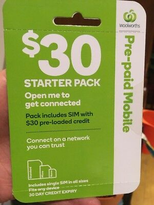 Woolworths Pre-paid Mobile $30 Starter Pack (on Telstra Network)