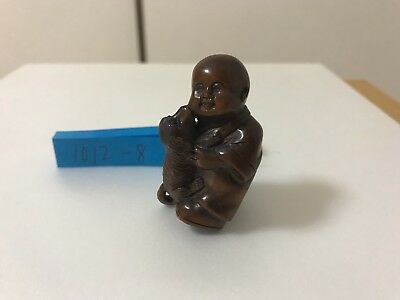 "Japanese Wood Carved Netsuke by Tamaishi 玉石 ""A boy playing with dog"" 1012-8"