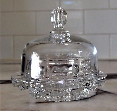 Crystal Art Deco Serving Bowl Plate Butter Jam with Lid