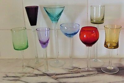 Vintage Art Deco Miniature Stemware Glasses Shot Sherry Glass Set of 8