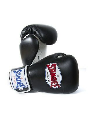 Sandee Boxing Gloves Authentic Leather Black White Muay Thai Kickboxing MMA