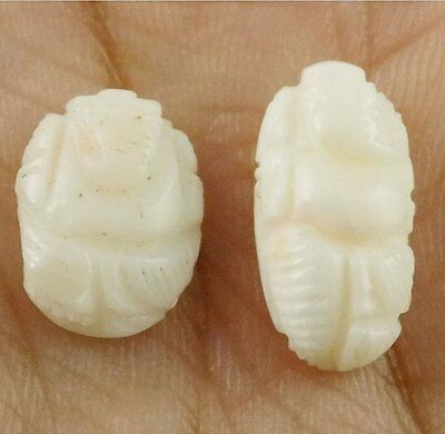 2 Pcs Natural White Coral Lord Ganesh 9x12-7x15mm 8Cts Smooth Carving Gemstone