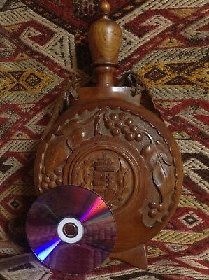 Antique Black Forest Art Horse Handcarved Walnut Wood Vine Flask Crest Hungary