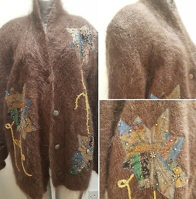 Vintage Oversized Mohair Brown Cardigan With Embroidery Crazy Fugly Ugly Large