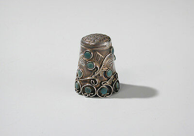 Vintage Sterling Silver Thimble Scroll and Vine with Turquoise IM-05 Mexico 925