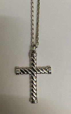 Hoxton London Mens Sterling Silver (925) Twist  Cross Necklace