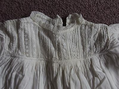 Antique Baby Dress Lace bodice trims embroidered Christening Doll