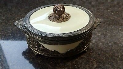 Vintage Victorian Style Candy Dish-Intricate Floral Etchings-Base Stem