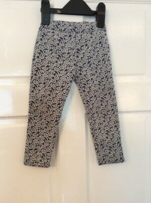 Baby Girl's nutmeg Navy with White Florals Leggings Age 18 - 24 months